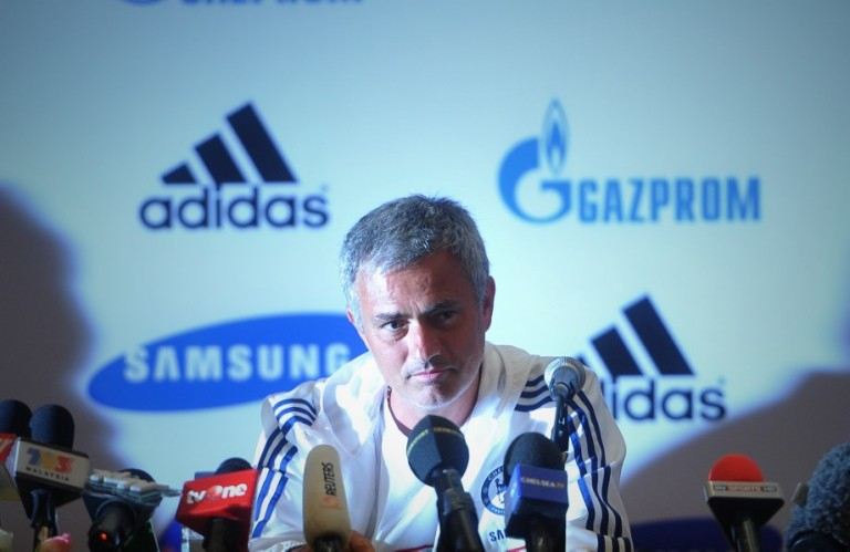 KUALA LUMPUR, MALAYSIA: Chelsea football manager Jose Mourinho speaks during a press conference in Kuala Lumpur on July 18, 2013. Chelsea will play an exhibition match against the Malaysia XI at the Bukit Jalil Stadium in Kuala Lumpur on July 21. Photo by Firdaus Latif