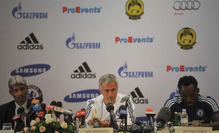 KUALA LUMPUR, MALAYSIA: (L-R) Malaysia head coach K.Rajagobal, Chelsea football Manager Jose Mourinho and Chelsea Midfielder Michael Essien during press conference in Kuala Lumpur on July 18, 2013. Chelsea will play an exhibition match against the Malaysia XI at the Bukit Jalil Stadium in Kuala Lumpur on July 21. Photo by Firdaus Latif