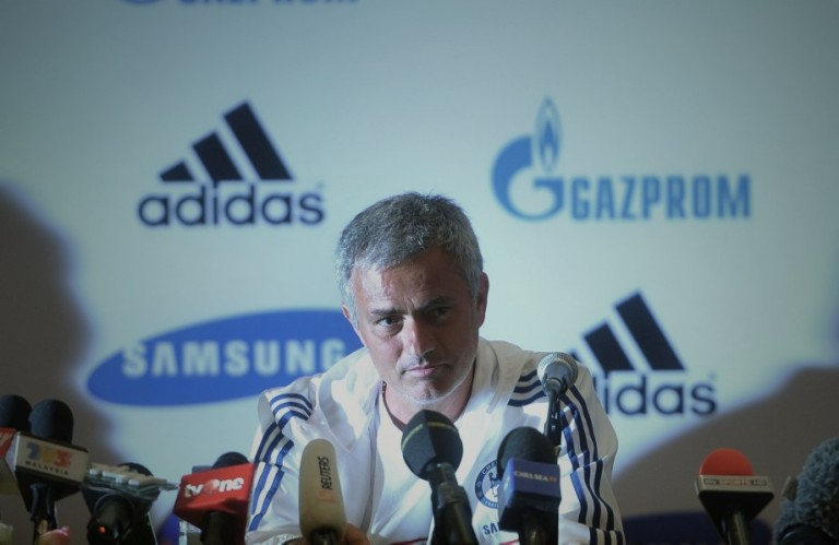 KUALA LUMPUR, MALAYSIA: Chelsea football manager Jose Mourinho speaks during a press conference in Kuala Lumpur on July 18, 2013. Chelsea will play an exhibition match against the Malaysia XI at the Bukit Jalil Stadium in Kuala Lumpur on July 21.Photo by Firdaus Latif