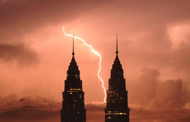 Lighting strike behind Malaysia's landmark Petronas Twin Towers