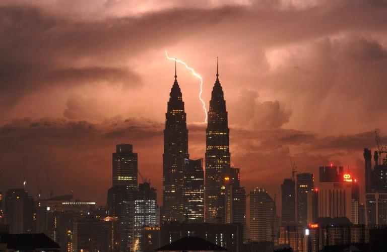 Lighting strike behind Malaysia's landmark Petronas Twin Towers